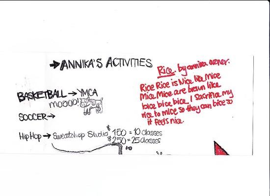 ANNIKA'S ACTIVITIES